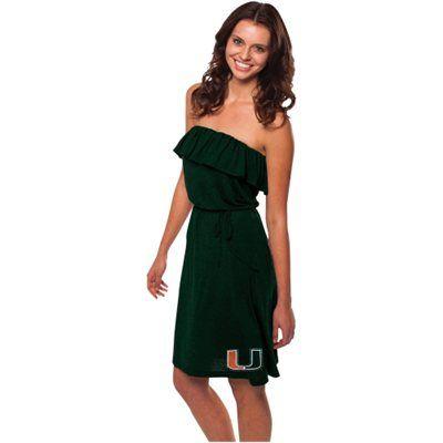 Miami Hurricanes Ladies Ruffle Strapless Dress - Green