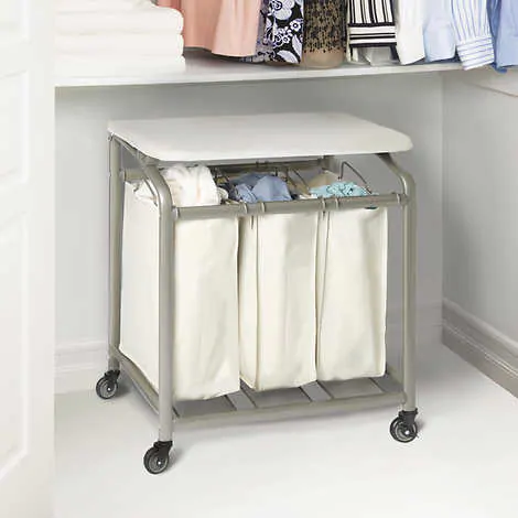 Seville Classics 3 Bag Laundry Sorter With Folding Table Laundry