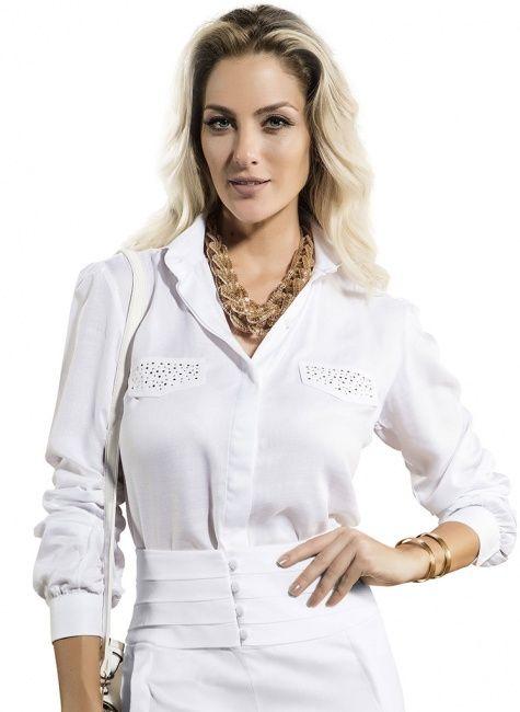 5d49cba62f caisa feminina branca manga longa principessa eliane Camisa Social Feminina