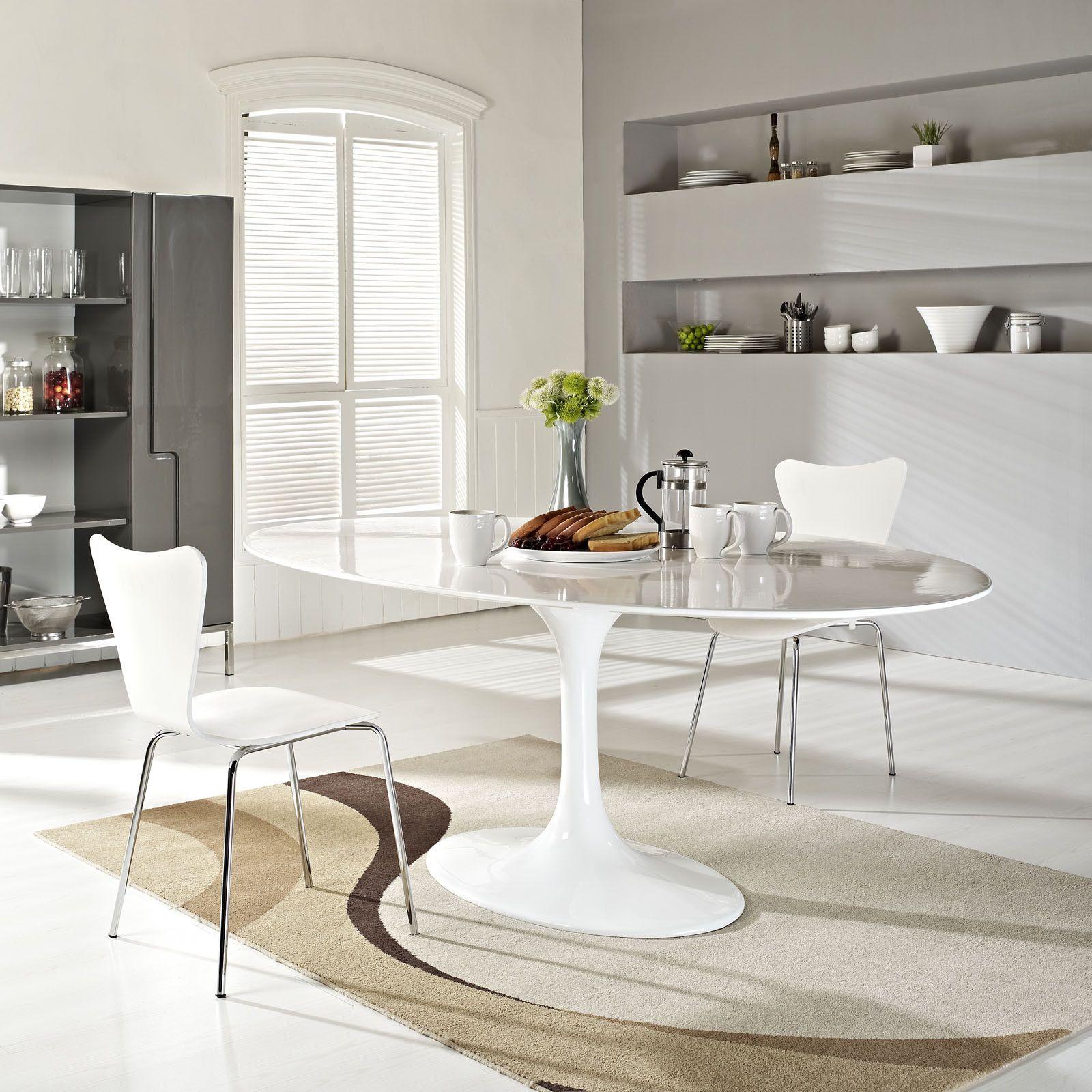 Lore 78 Fibergl Dining Table White