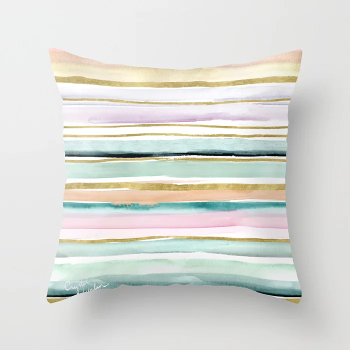 Day Dream Stripe Throw Pillow By Crystalwalen Society6 Stripe Throw Pillow Designer Throw Pillows Throw Pillows