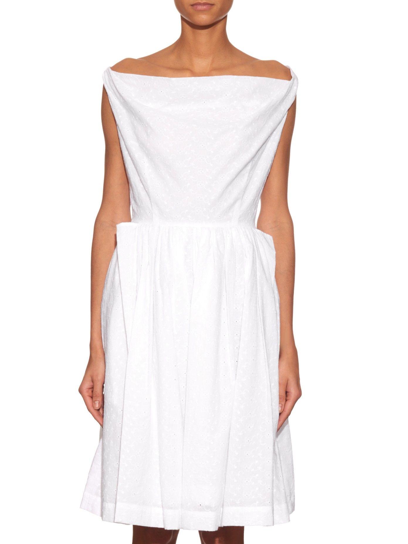 Broderie Anglaise Draped Cotton Dress Vivienne Westwood Anglomania Matchesfashion Com Us Dresses Cotton Dresses Vivienne Westwood Anglomania [ 1854 x 1391 Pixel ]