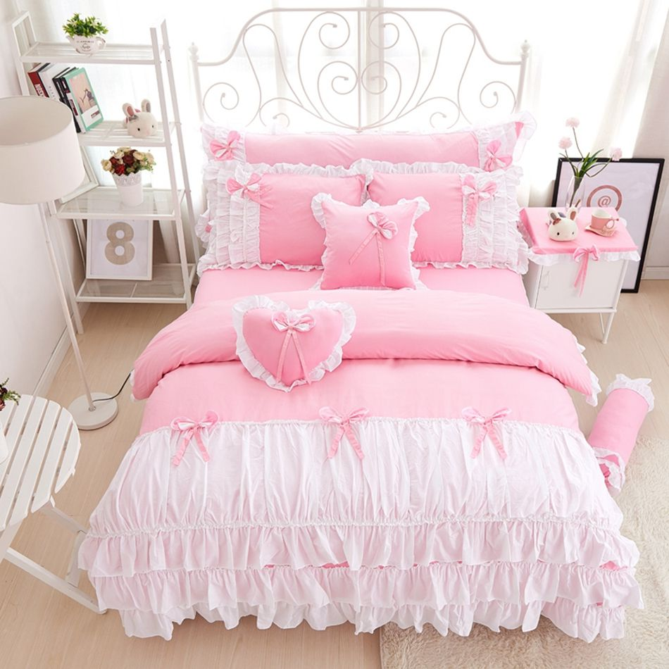 Design Princess Bedding 34pcs cotton pink princess bedding set lace edge solid and white color twin