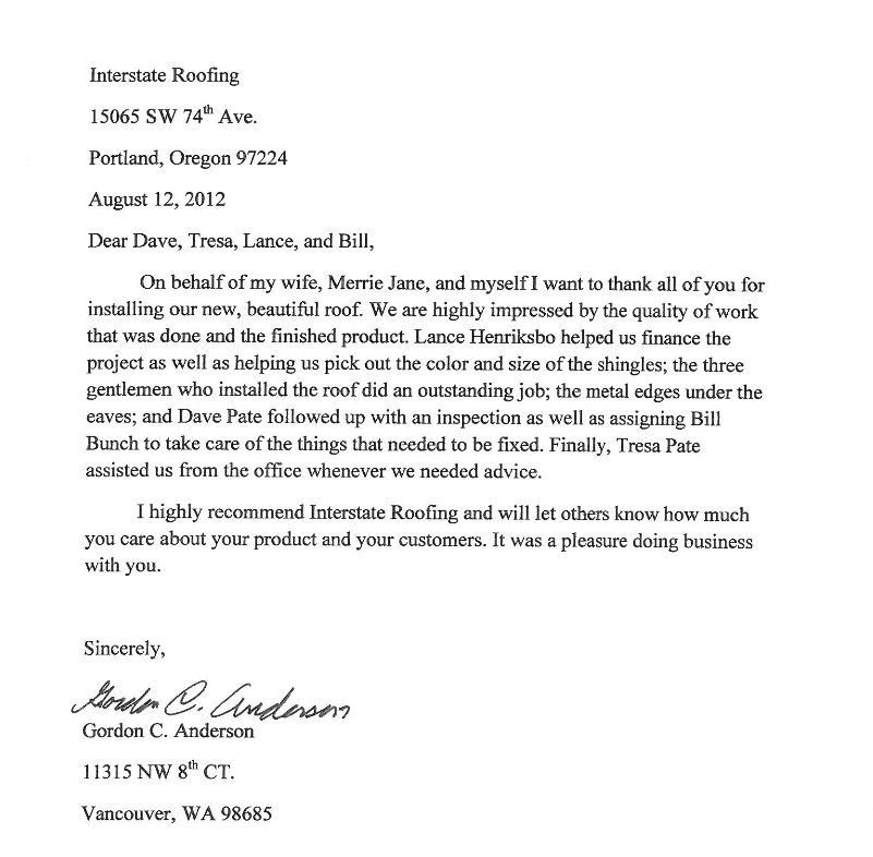 testimonial letters interstate roofing portland vancouver thank - Thank You Letter Appreciation