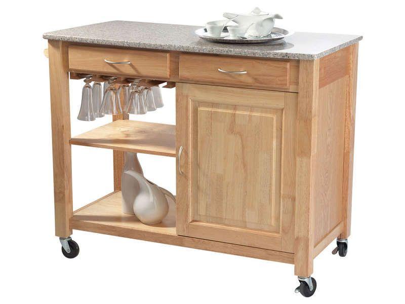 Desserte en bois et marbre FROSTY - Vente de Meuble Micro-ondes et - Conforama Tables De Cuisine