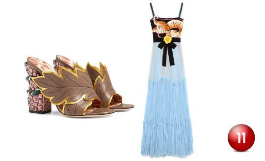 Gucci Crossover Leather Sandal, $1,100.00, gucci.com Gucci Silk Chiffon Gown from Cruise 2016 collection, $9,980.00, gucci.com