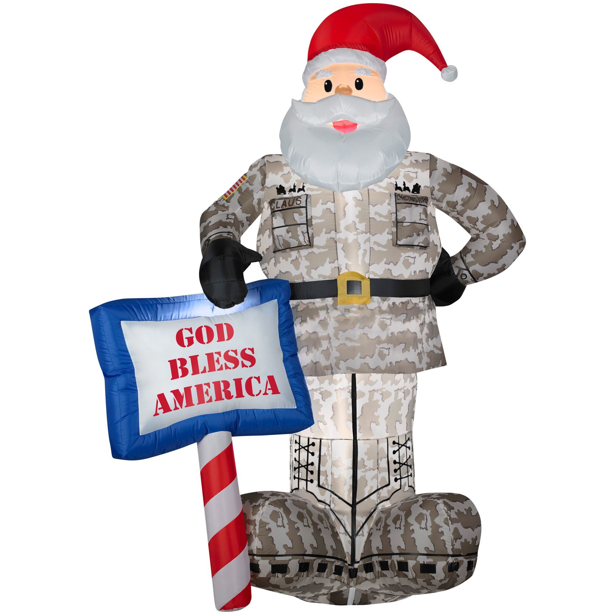 Gemmy inflatable airblown reindeer outdoor christmas decoration lowe - Gemmy Airblown Inflatables Military Santa With God Bless America Sign