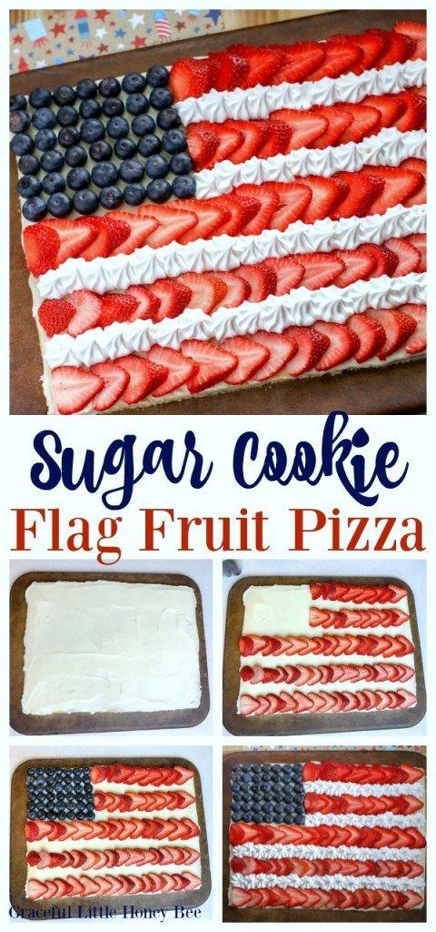 Sugar Cookie Flag Fruit Pizza – Graceful Little Honey Bee