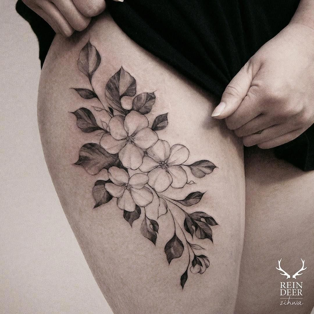 Tattoos For Women Behind The Ear Tattoosforwomen Flower Thigh Tattoos Floral Thigh Tattoos Tattoos For Women Flowers