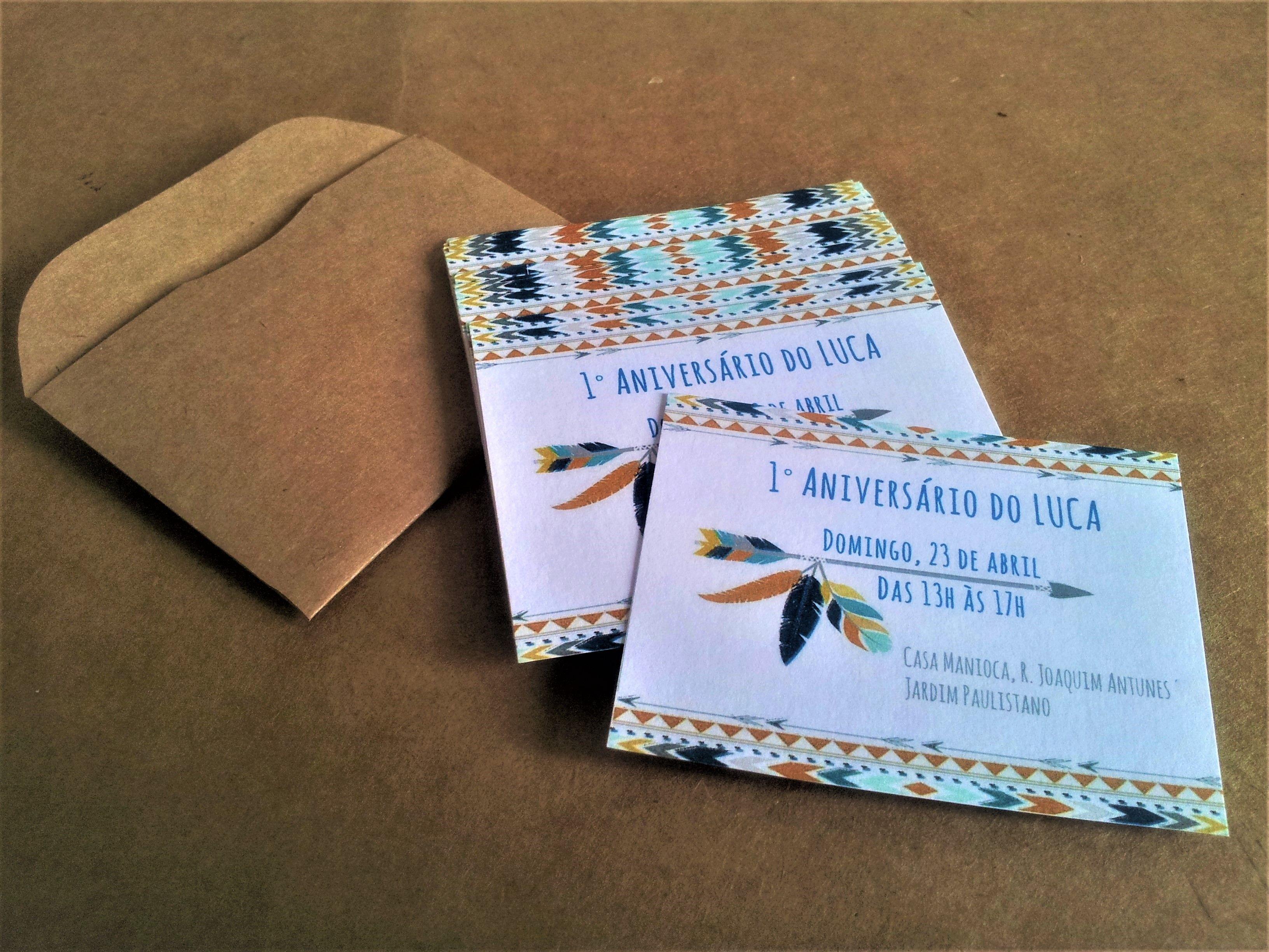 Mini convite personalizado com envelope rústico kraft