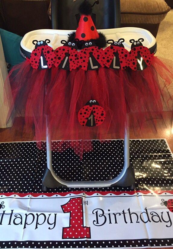 Ladybug Highchair Decorations More Girl Birthday