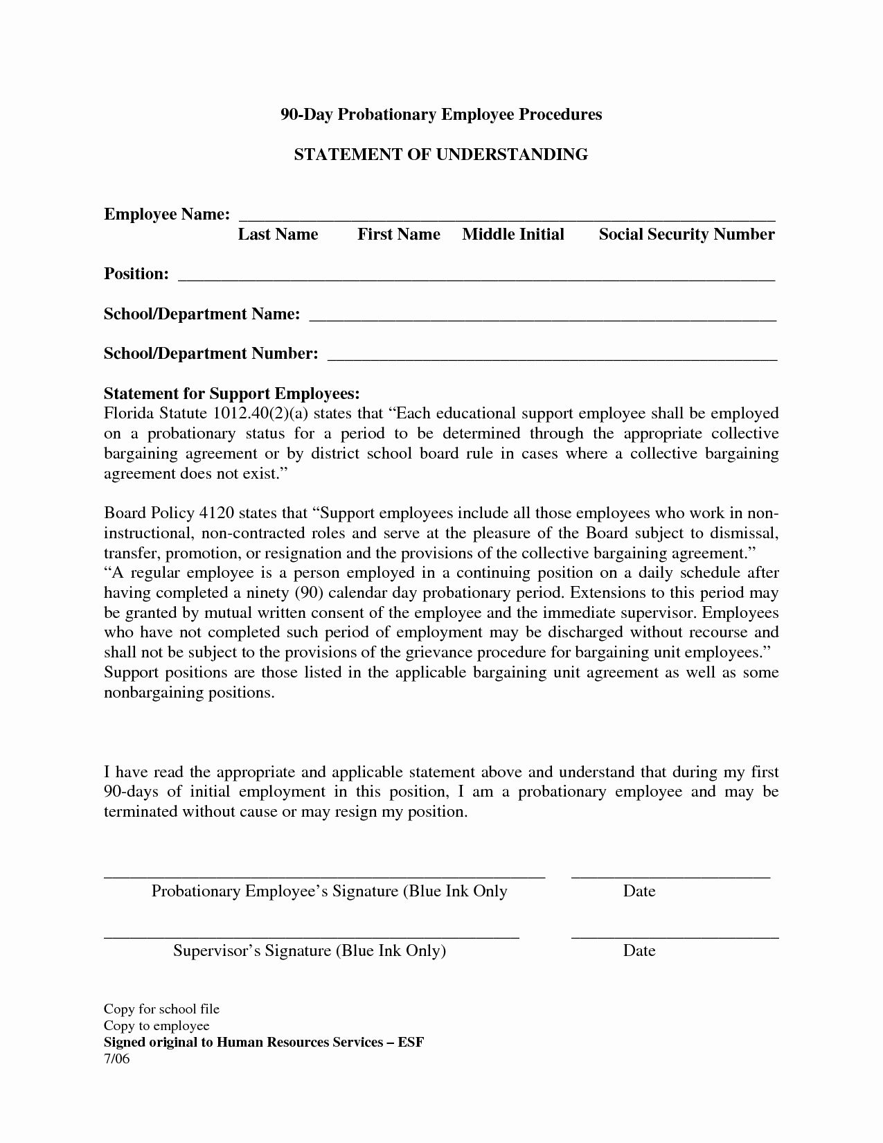 90 Day Probationary Period Form Awesome Best S Of 90 Day Probationary Form 90 Day Employee In 2020 Cover Letter For Resume Application Cover Letter Lettering 90 day probation period letter