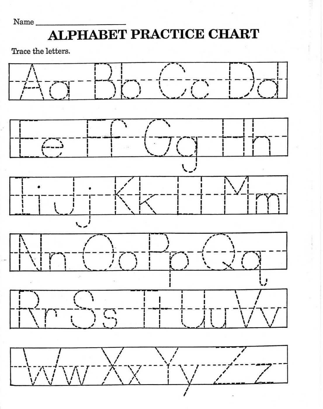 Trace Letter Worksheets Free Printable alphabet