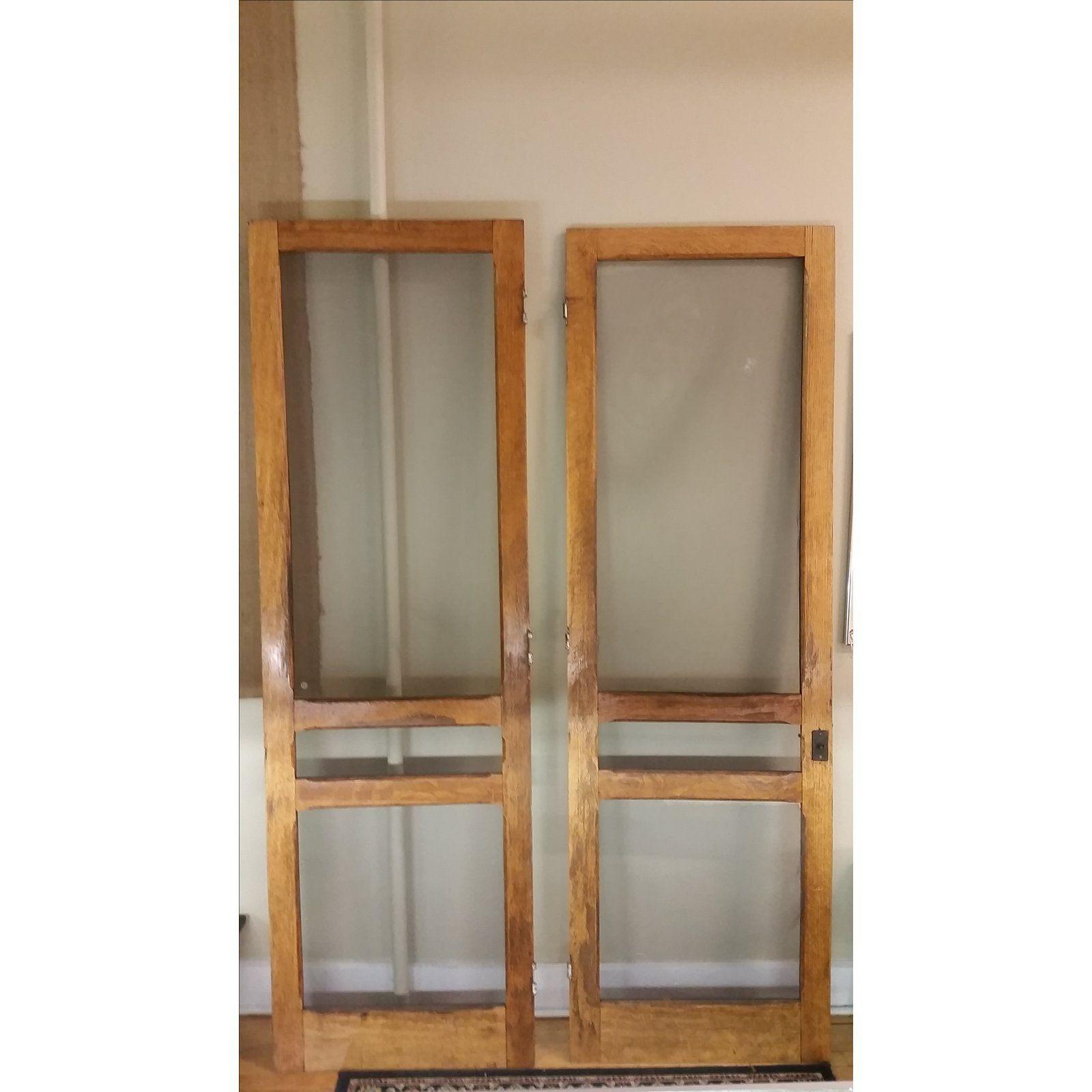 Tiger oak plantation style screen doors a pair in doors