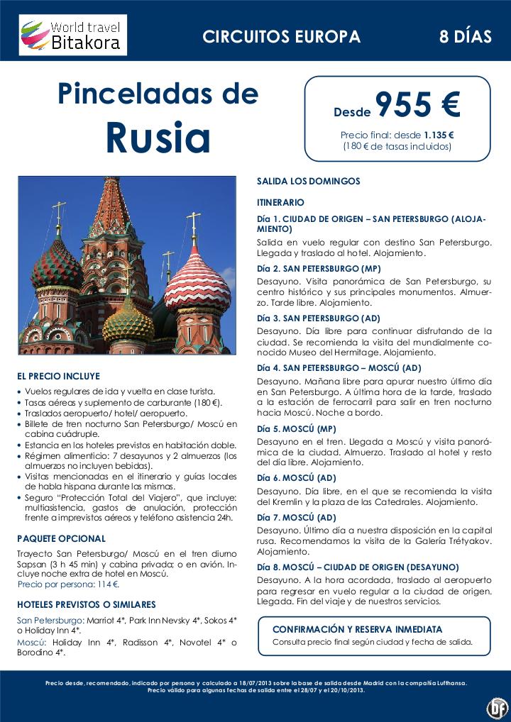 Pinceladas de Rusia, 8 días / 7 noches, desde 955 €  + tasas - http://zocotours.com/pinceladas-de-rusia-8-dias-7-noches-desde-955-e-tasas/