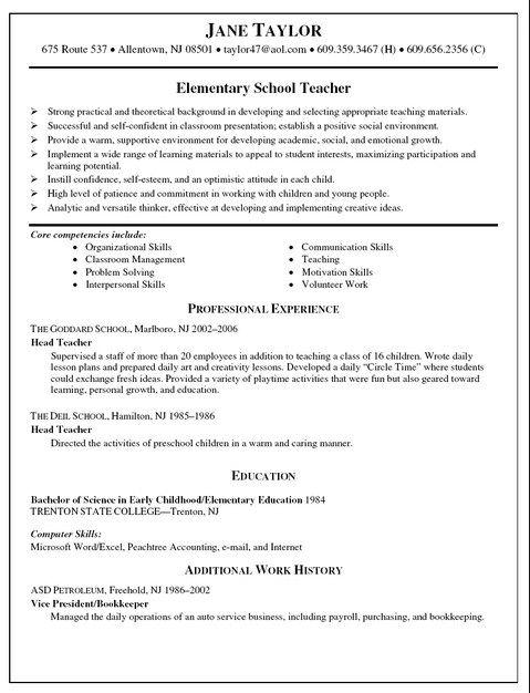 Teacher Resume Examples Resume Example