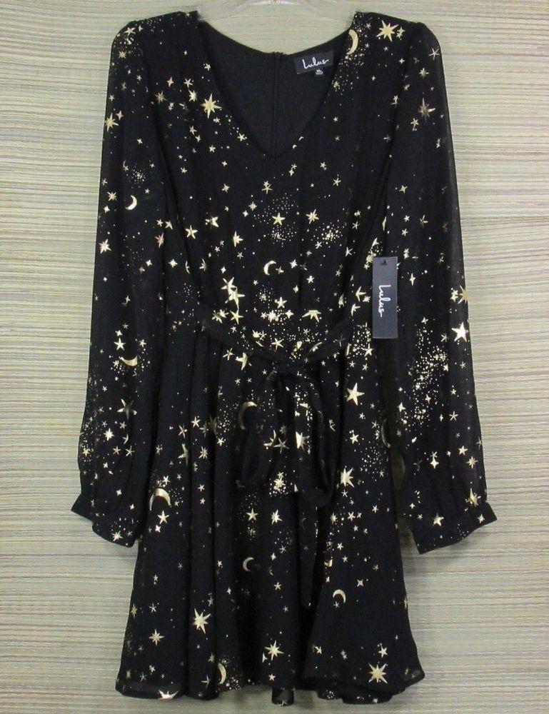Lulus Midnight Skyline Black Star Moon Print Long Sleeve Skater Dress RD4091 XL #Lulus #SkaterDress