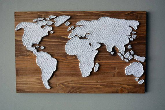 Large Wooden World Map Wall Art String Art Rustic World Map Decal