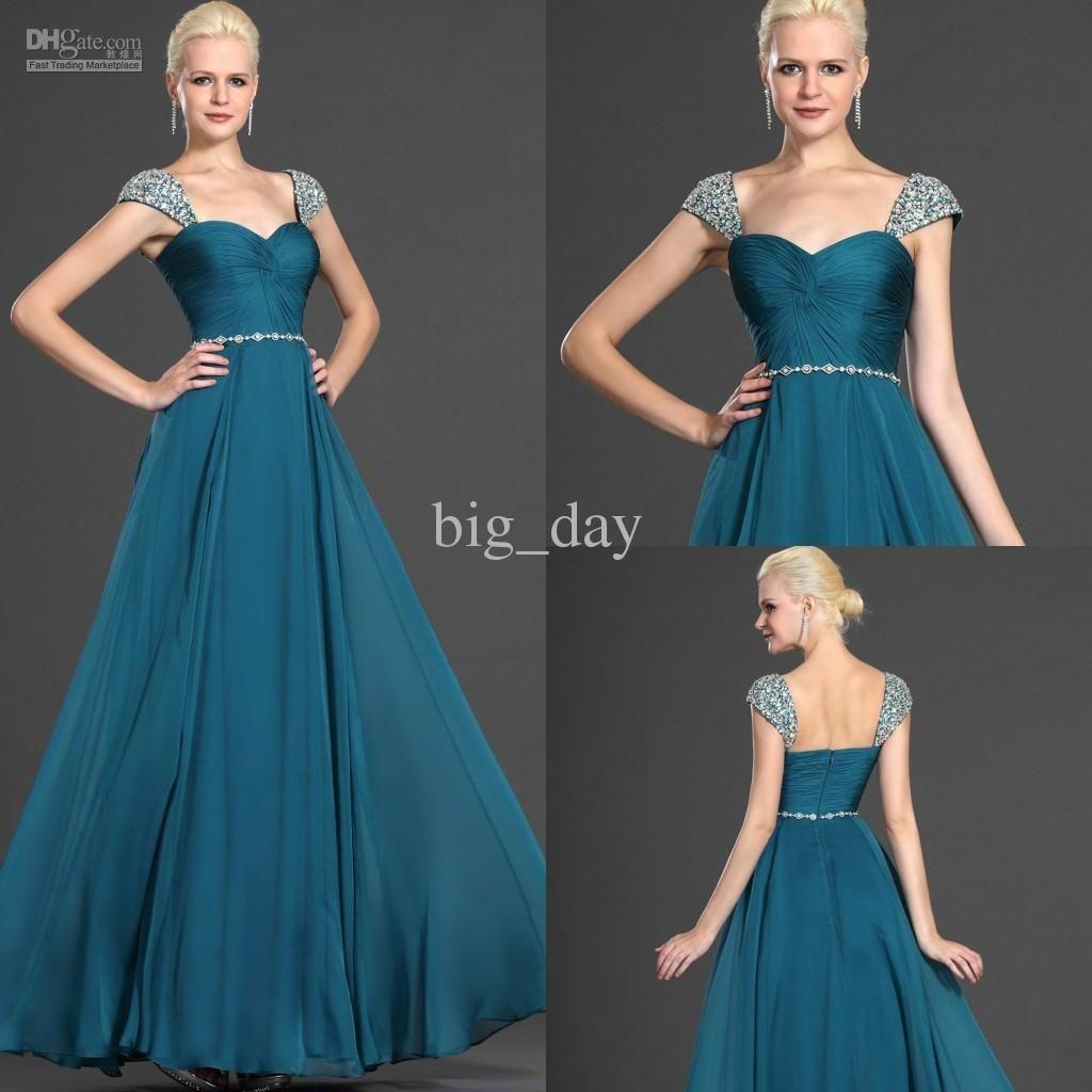 2013 Off Shoulder Dark Blue Chiffon Formal Evening/Prom Dress S0020 ...