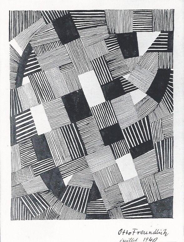 Otto Freundlich Composition Encre de chine sur papier / China ink on paper 28 x 22.5 cm 1940