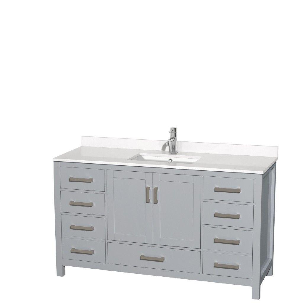 60 Inch Single Bathroom Vanity In Gray White Quartz Countertop Undermount Square Sink No In 2021 Single Bathroom Vanity Bathroom Vanity Single Sink Bathroom Vanity [ 1024 x 1024 Pixel ]