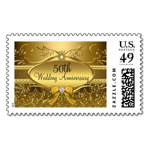 Elegant Gold Damask 50th Anniversary Stamp 50th Anniversary Custom Stamps Anniversary