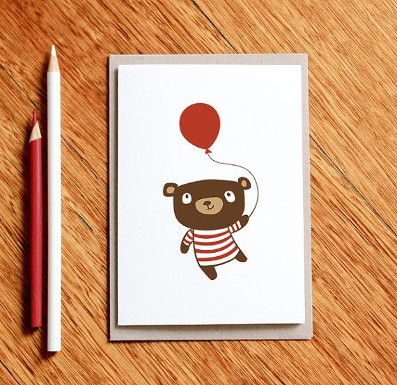 Birthday Bear, Baby Boy Card, Baby Girl Card. Baby Shower