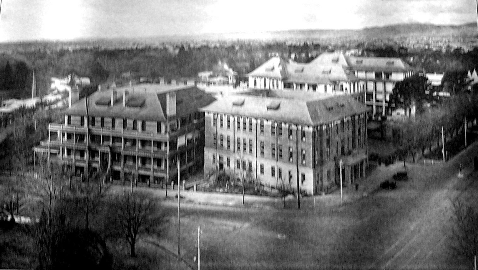 The Royal Adelaide Hospital at the north side of North Terrace  between Frome Road and the Adelaide Botanic Gardens, Adelaide in South Australia  (year unknown).