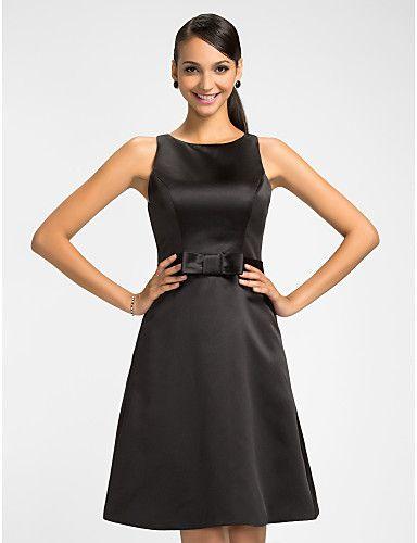 Bridesmaid Dress Knee Length Satin A Line Jewel Dress – AUD $ 85.79