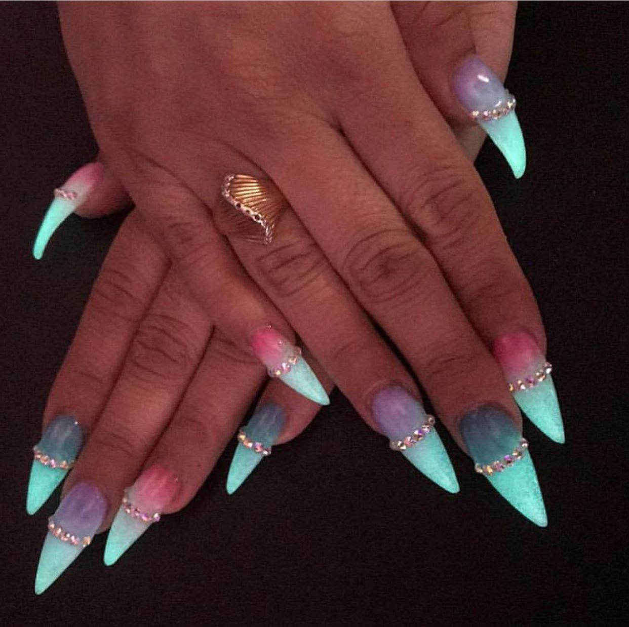 Ombre Mermaid Glow In The Dark Nails