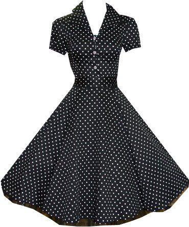 29218f078c4a9 Pretty Kitty Fashion 50s Black White Polka Dot Swing Tea Dress - Buy New:  £29.99 - £32.99