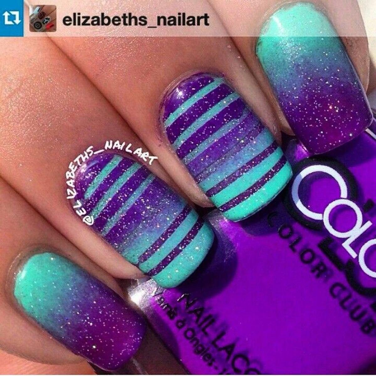 Aqua Purple Nails Purple Nail Designs Purple Nails Nail Designs
