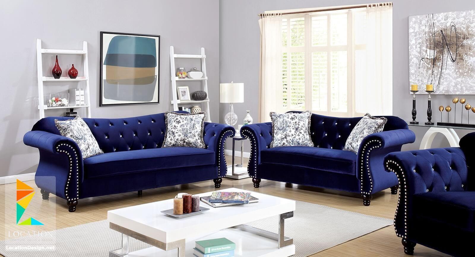 معارض اثاث مودرن أحدث موديلات انتريهات مودرن 2019 2020 Blue Living Room Decor Blue Furniture Living Room Blue Sofa Living