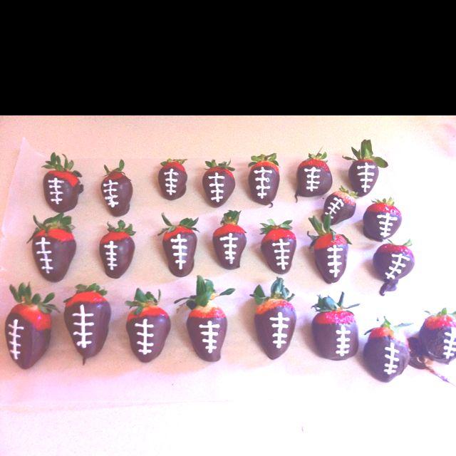 Strawberry chocolate footballs
