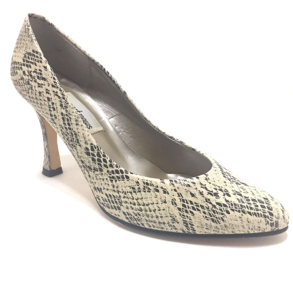 bacef05b5300 Newport News Cream Black Snakeskin Pattern Stiletto Pumps Size 6 M ...