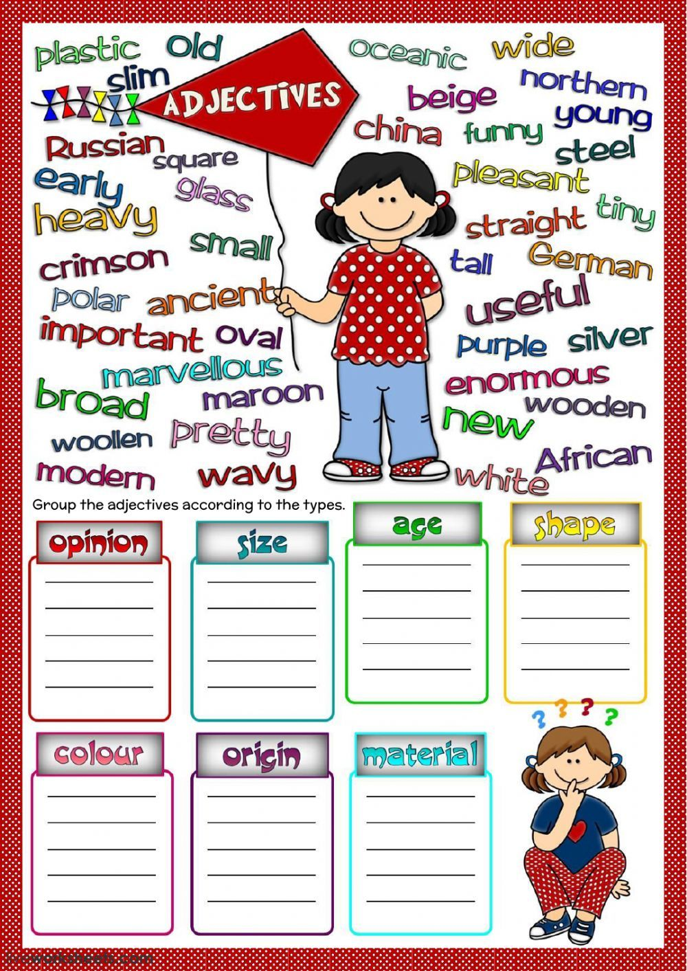 Adjectives Interactive And Downloadable Worksheet You Can Do The Exercises Online Or D Parts Of Speech Worksheets English As A Second Language Parts Of Speech