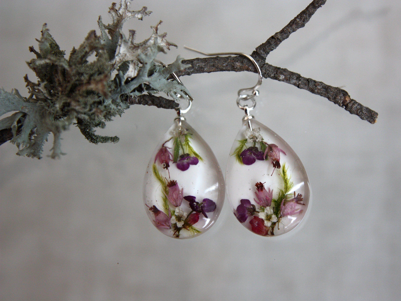 Fall floral flower epoxy dangle earring