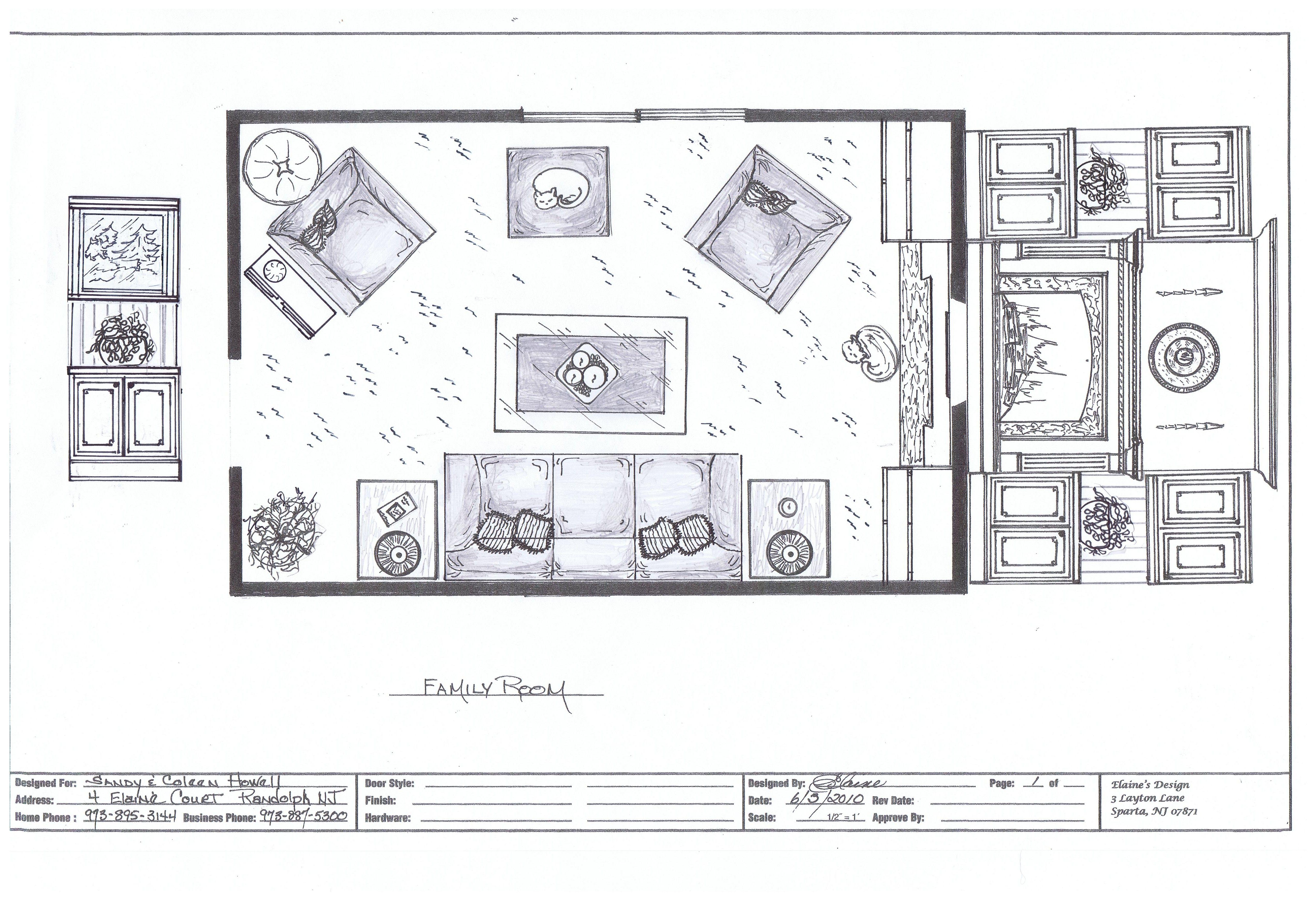 Home Renovation - A family room plan sketch | Elaine's