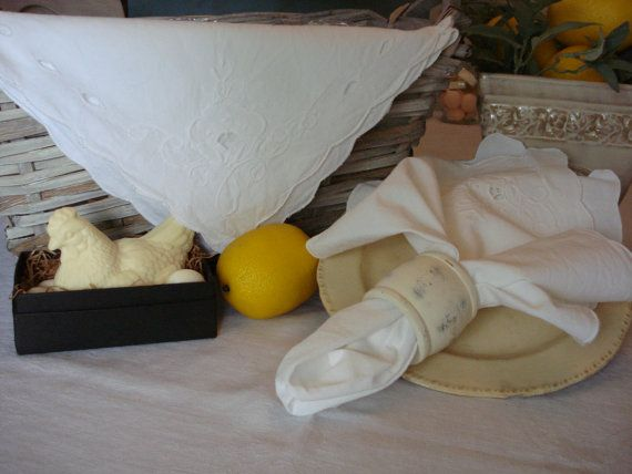 Shabby Chic Linen Napkins Country French by RococoCatStudio, $14.00