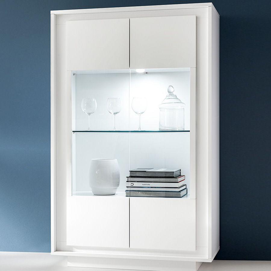 Haut De Buffet Vitré vitrine blanc laqué mat design nevada | vitrine blanc laqué