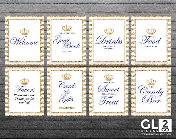 Prince Table Signs + Crown. 12 printable White, Gold & Royal Blue Signs. Welcome, Food, Drinks, Favors, Gifts, Guest Book, Candy Bar, Sweets by GLDesigns2Go