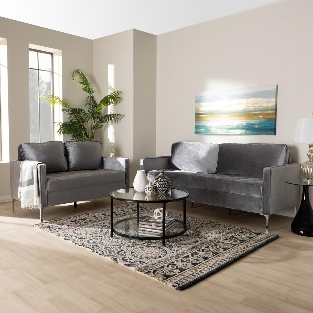 Best Clark Grey Velvet 2 Piece Living Room Set Products 400 x 300