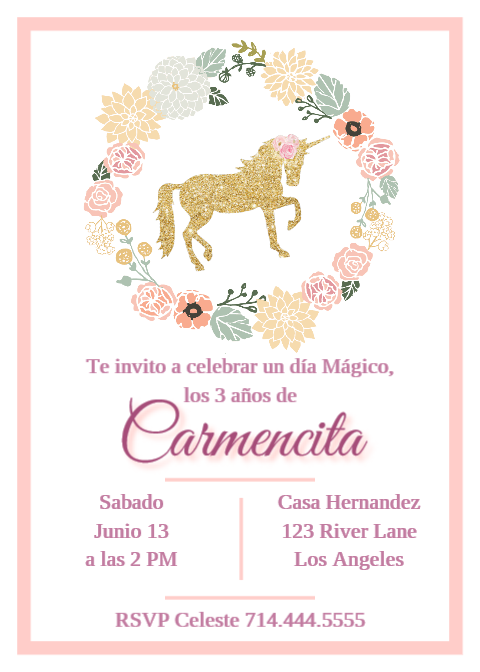 Feliz Cumpleaños Invitación Cumpleaños Unicornio Niña