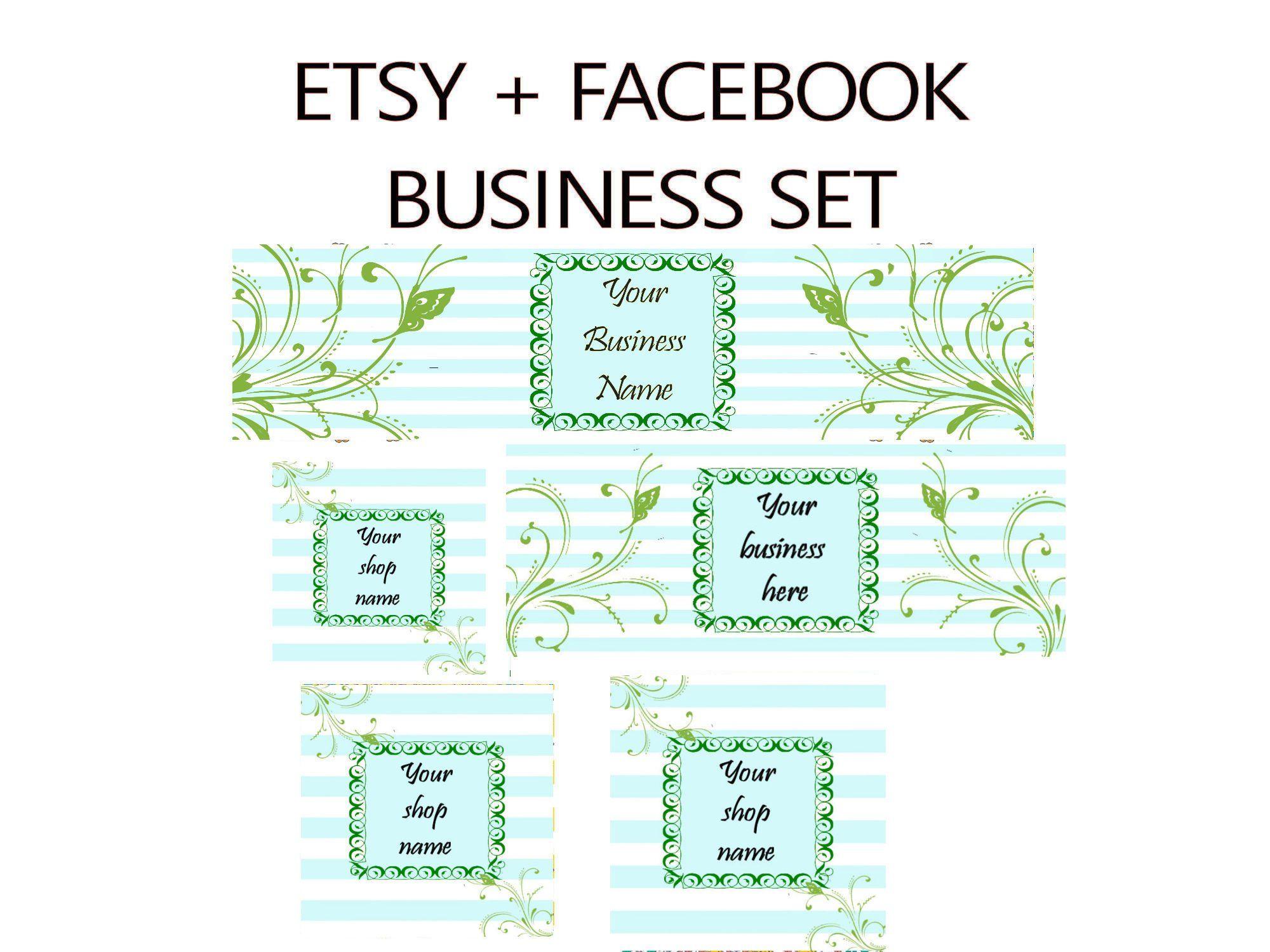 Template Banner Online Business Graphic Etsy Banner Set Facebook