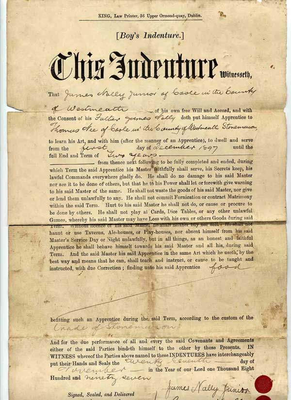Grandfathers Indentured Servant Agreement Confederate Colonel