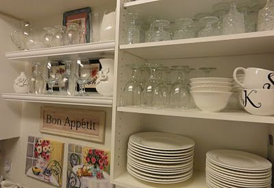 I use all-white dishes and clear glassware.