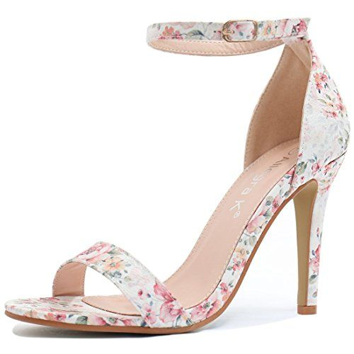 377215b12e Allegra K Women Floral Prints High Heel Ankle Strap Sanda...   Shoes ...
