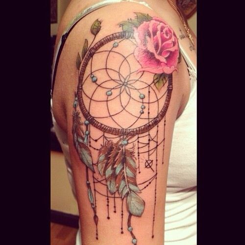 Lavender Flower Dream Catcher Tattoo: Rose Dreamcatcher Turquoise And Brown Feathers