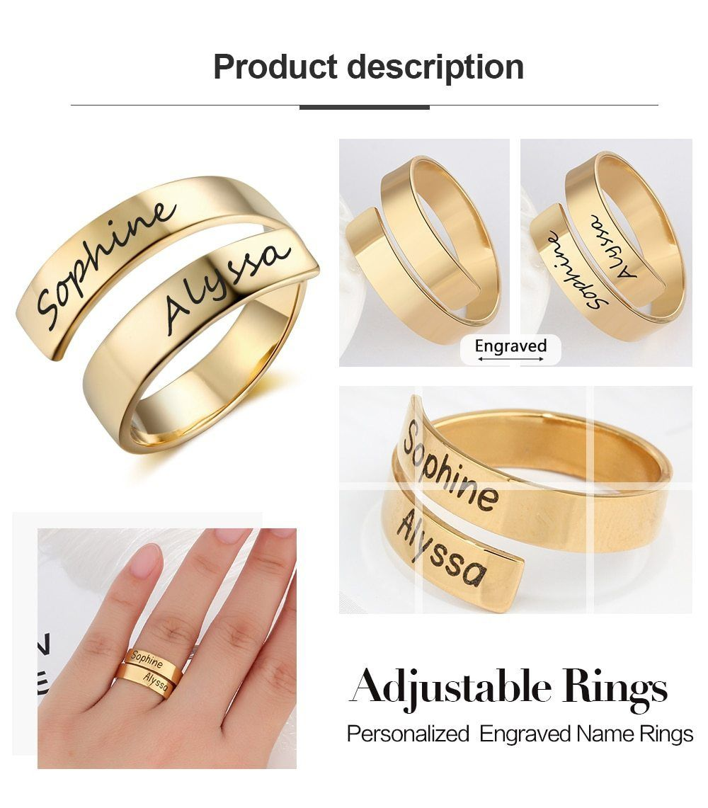 Personalized Name Rings With Double Name Name Rings Emerald Engagement Ring Set Engraved Rings
