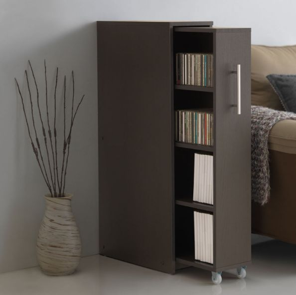 Invisible Bookshelf Brown Pull Out Drawer Ideal Storage Cabinet Baxton